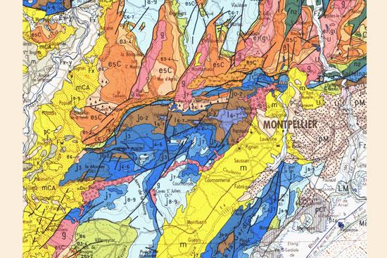 Carte géologique au 1/250 000 de Montpellier (édition BRGM)